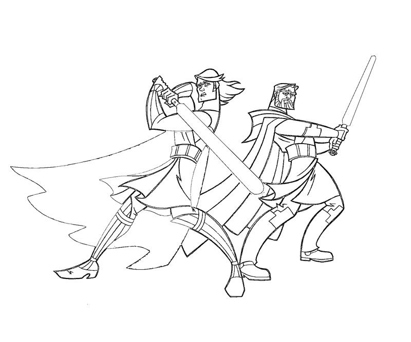 Anakin And Obewan Coloring Page