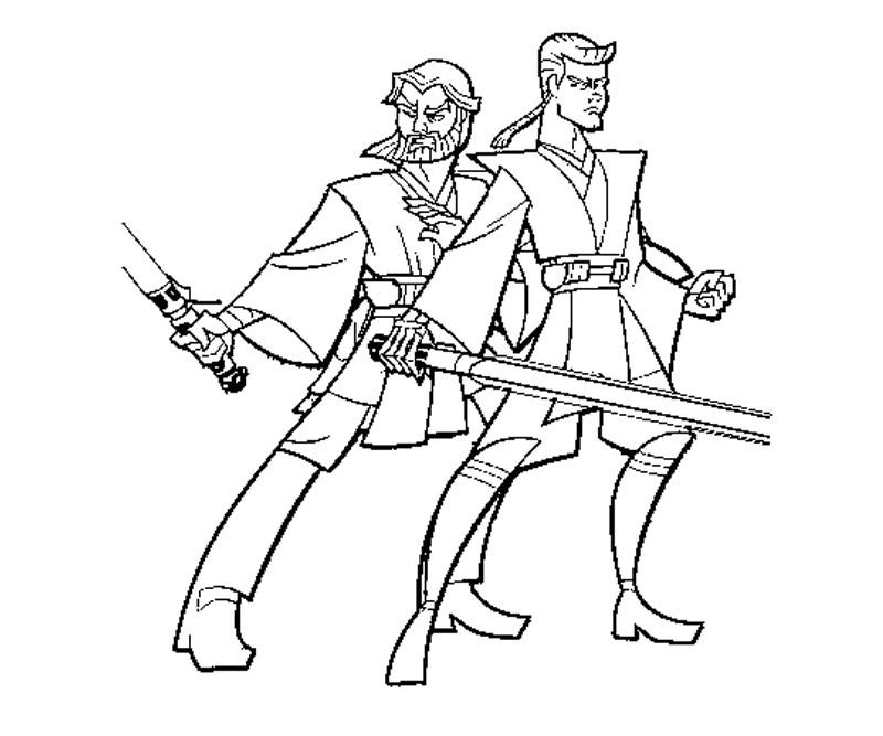 Anakin Skywalker And Obewan Kenobe Coloring Page