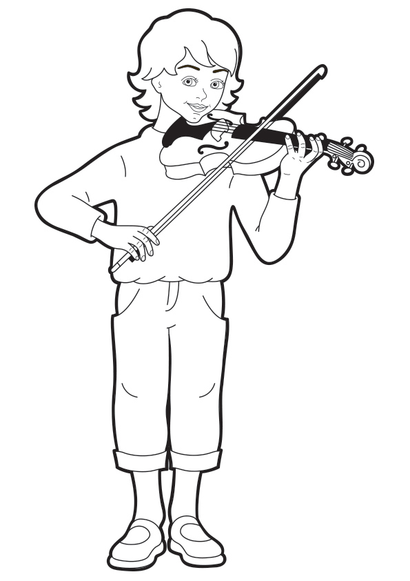 Boy Playing Violin Coloring Page