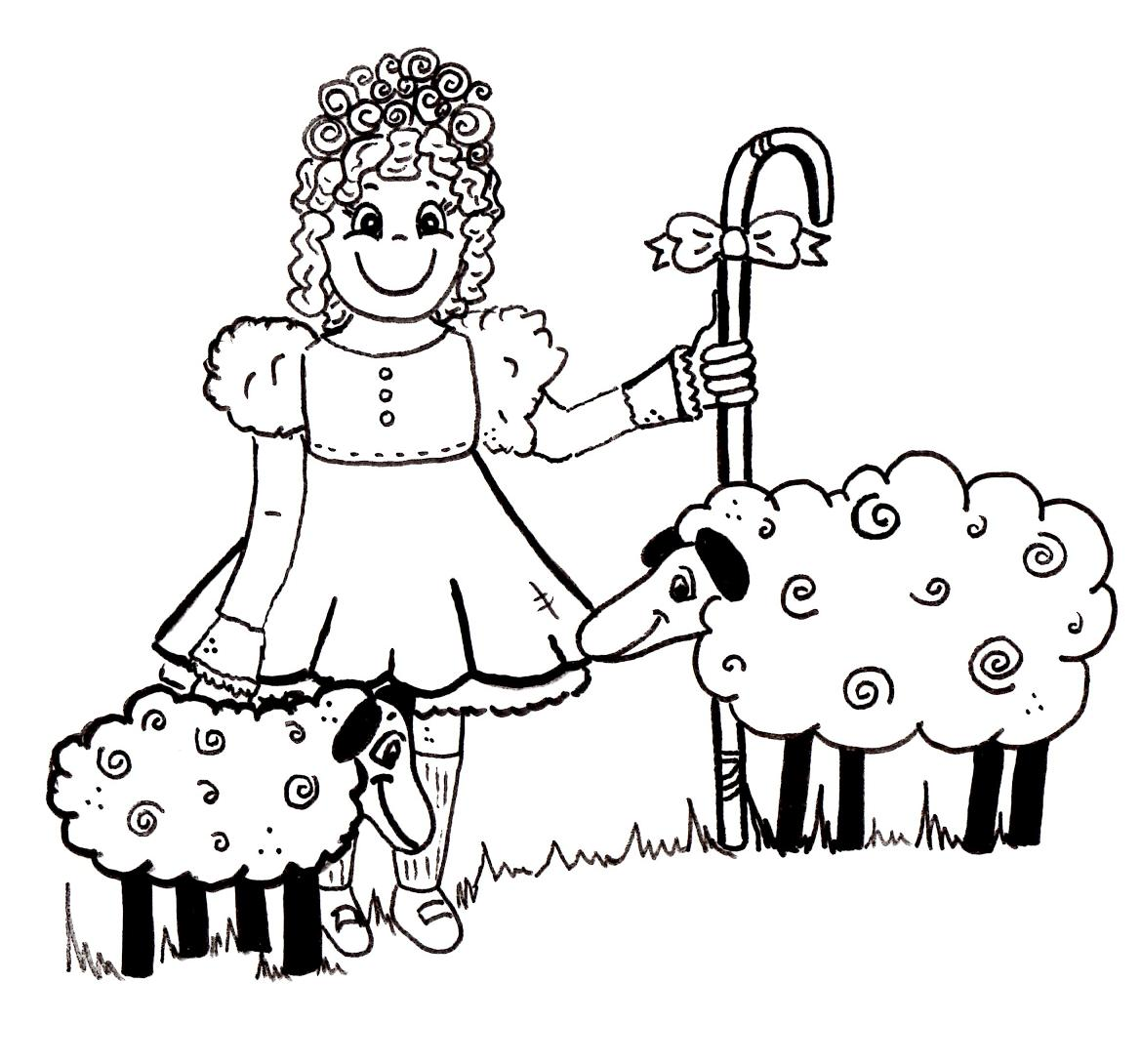 Cartoon Little Bo Peep Coloring Page