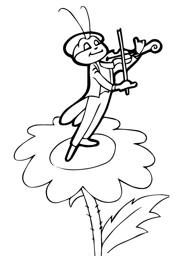 Cricket Playing Violin Coloring Page