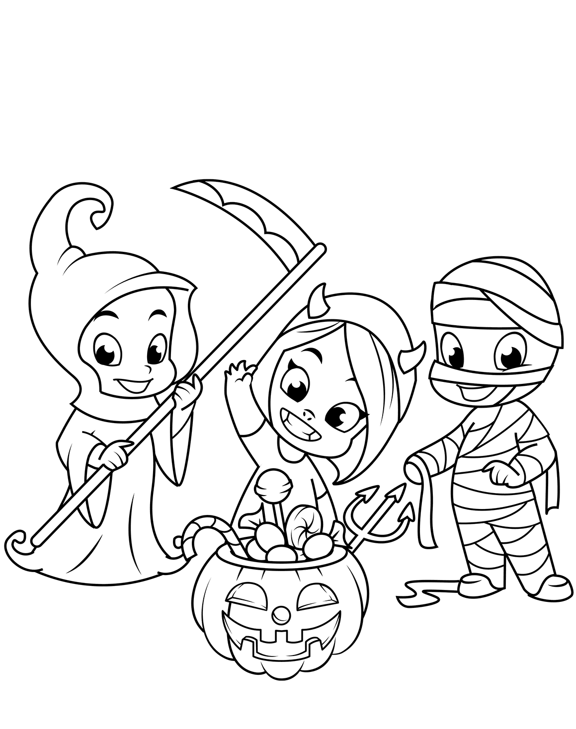 Cute Halloween Costumes Coloring Page
