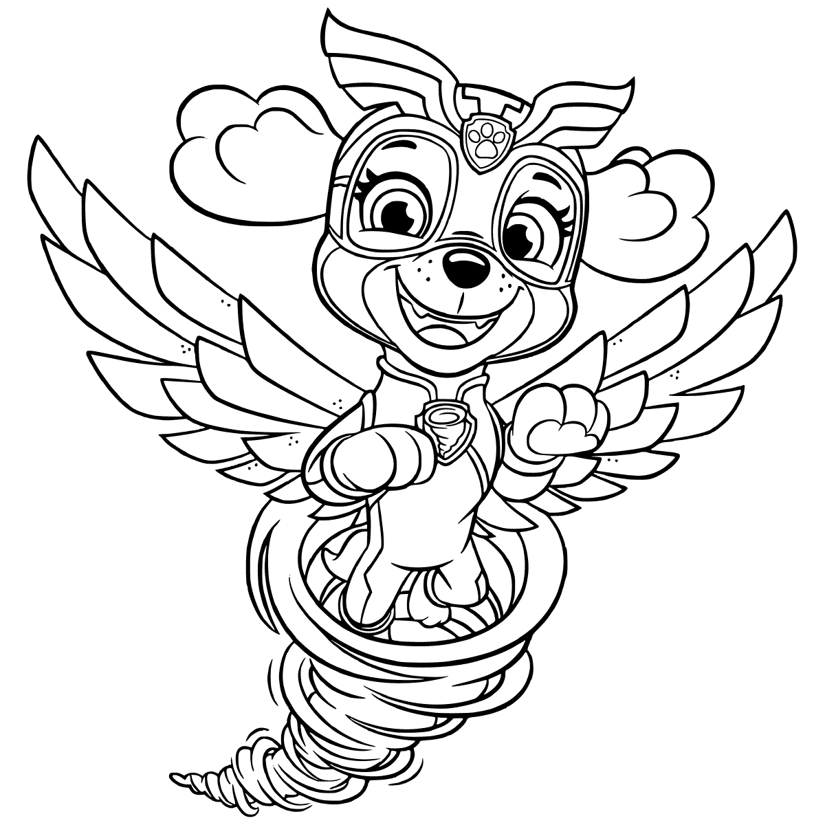Cute Puppy Tornado Coloring Pages