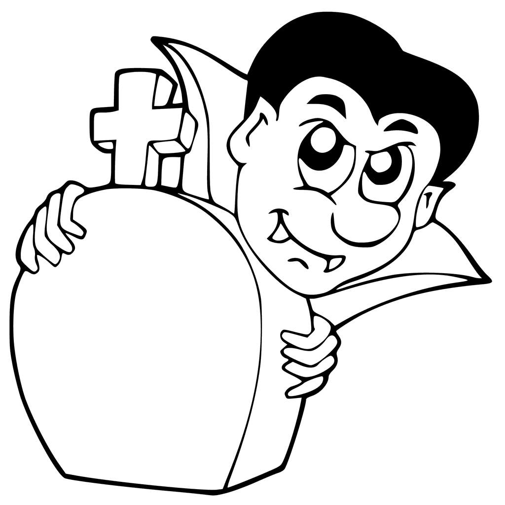 Dracula Hiding Behind Tombstone Coloring Page