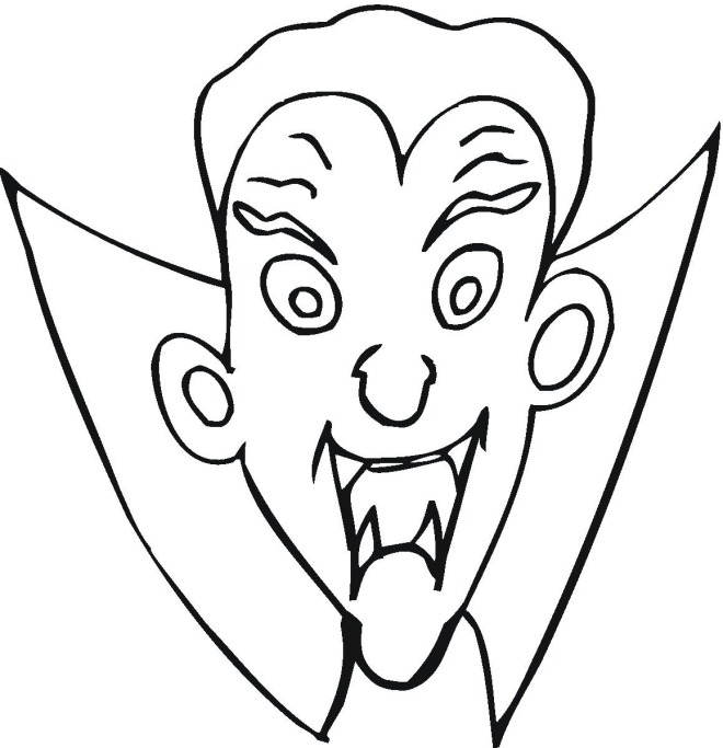 Draculas Head Coloring Pages