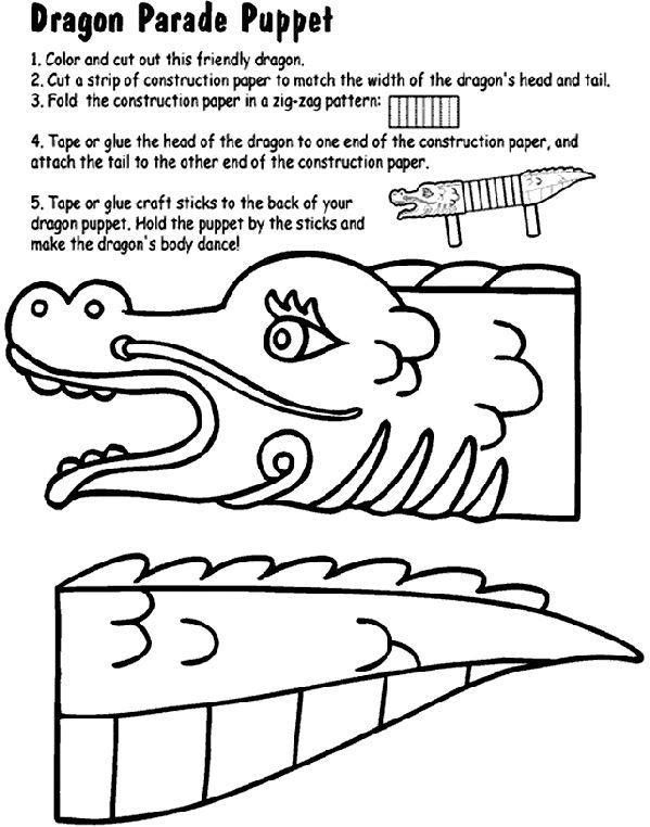 Dragon Parade Puppet Coloring Pages