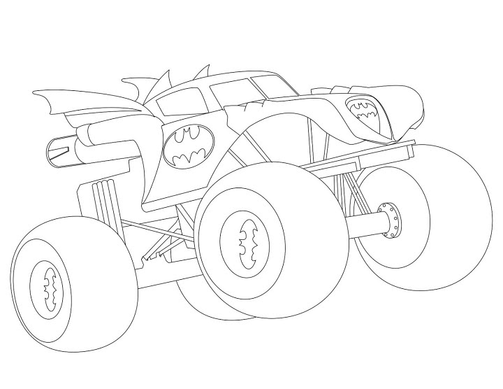 Easy Batman Monster Truck Coloring Pages