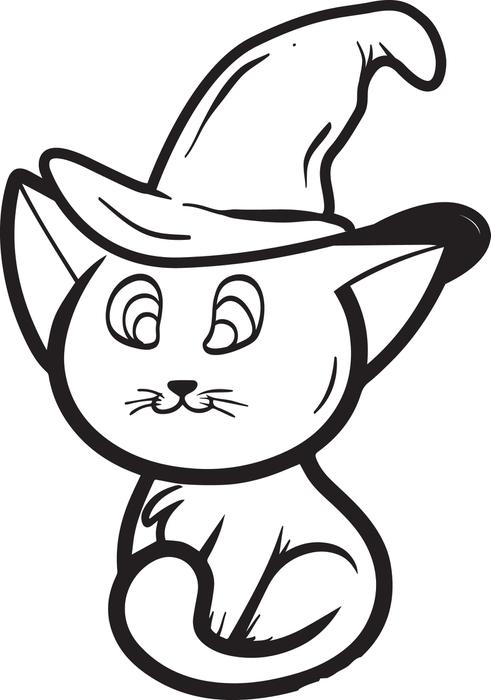 Easy Halloween Cat Coloring Page
