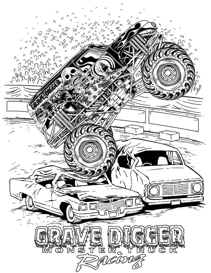 Grave Digger Monster Jam Coloring Pages