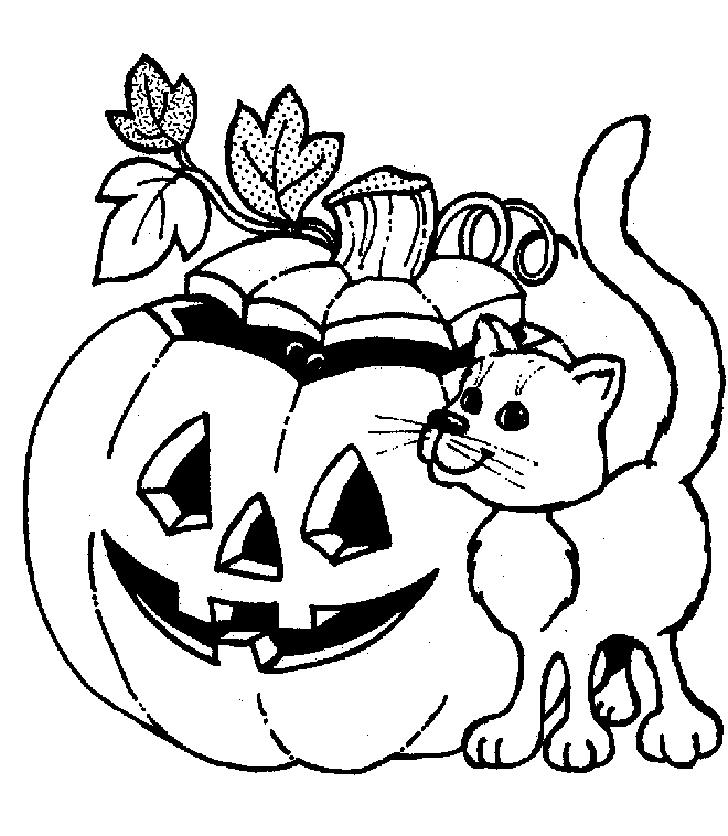 Halloween Cat And Pumpkin Coloring Page