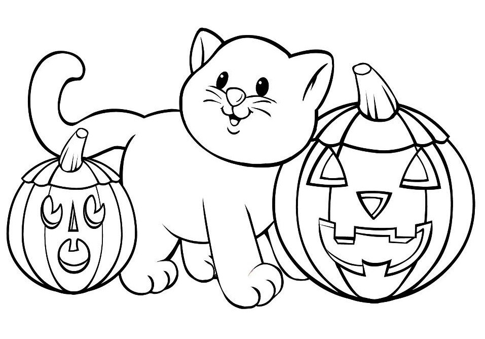 Halloween Cat And Pumpkins Coloring