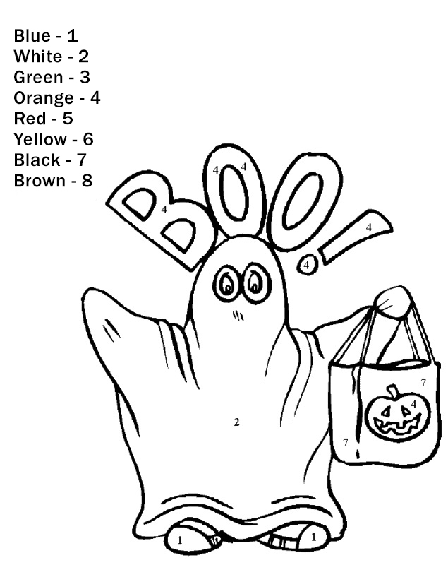 Halloween Ghost Color By Number