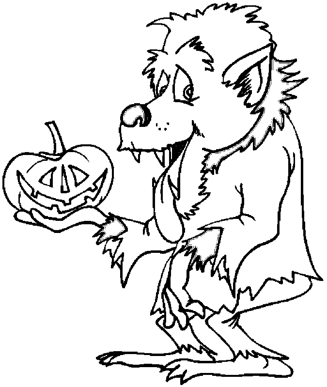 Halloween Werewolf Coloring Page
