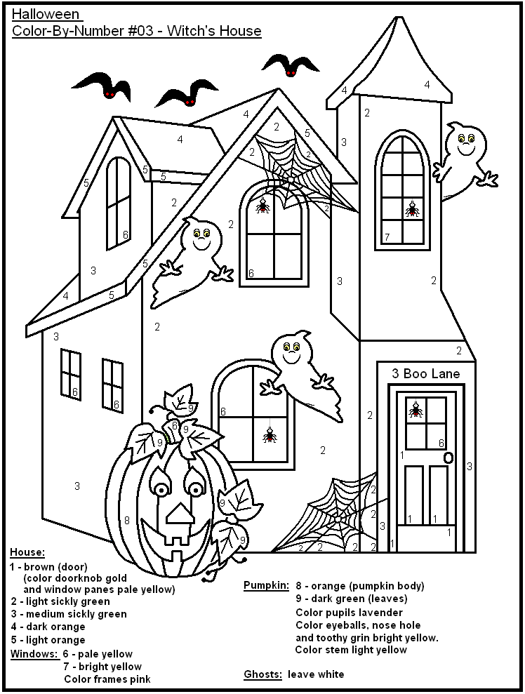 Haunted House Color By Number