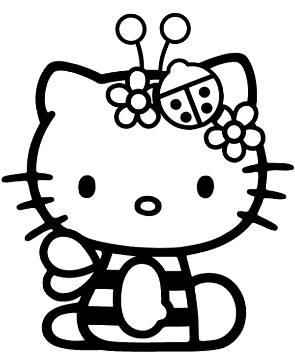 Hello Kitty Halloween Bee Costume Coloring Pages