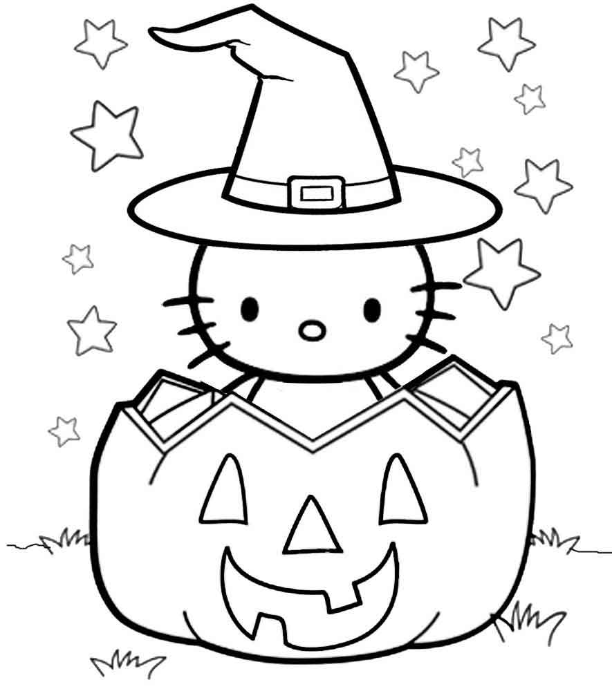 Hello Kitty Halloween Witch In Pumpkin Coloring Pages
