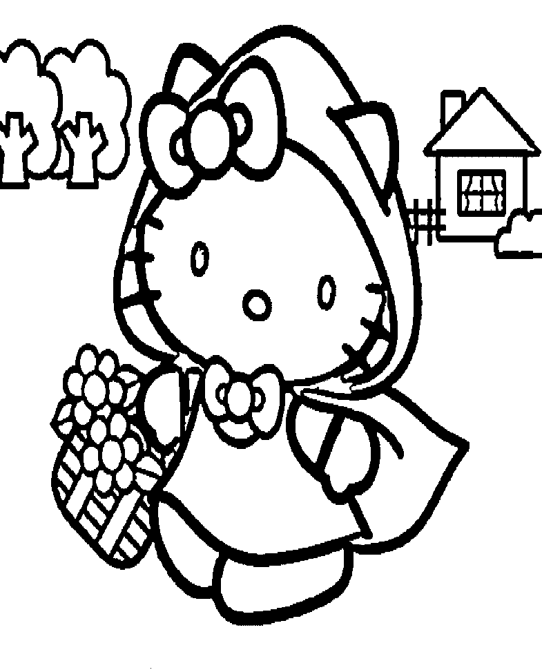Hello Kitty Riding Hood Coloring Pages