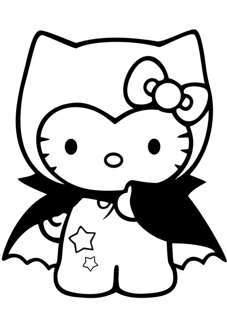 Hello Kitty In Dracula Costume Coloring Pages
