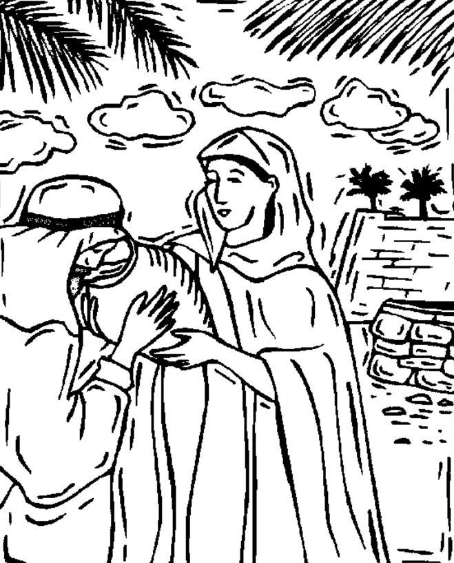 Isaac And Rebekah Bible Coloring Page