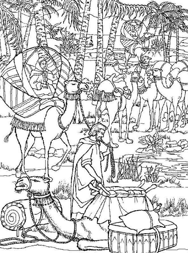 Isaac And Rebekah Bible Scene Coloring Pages