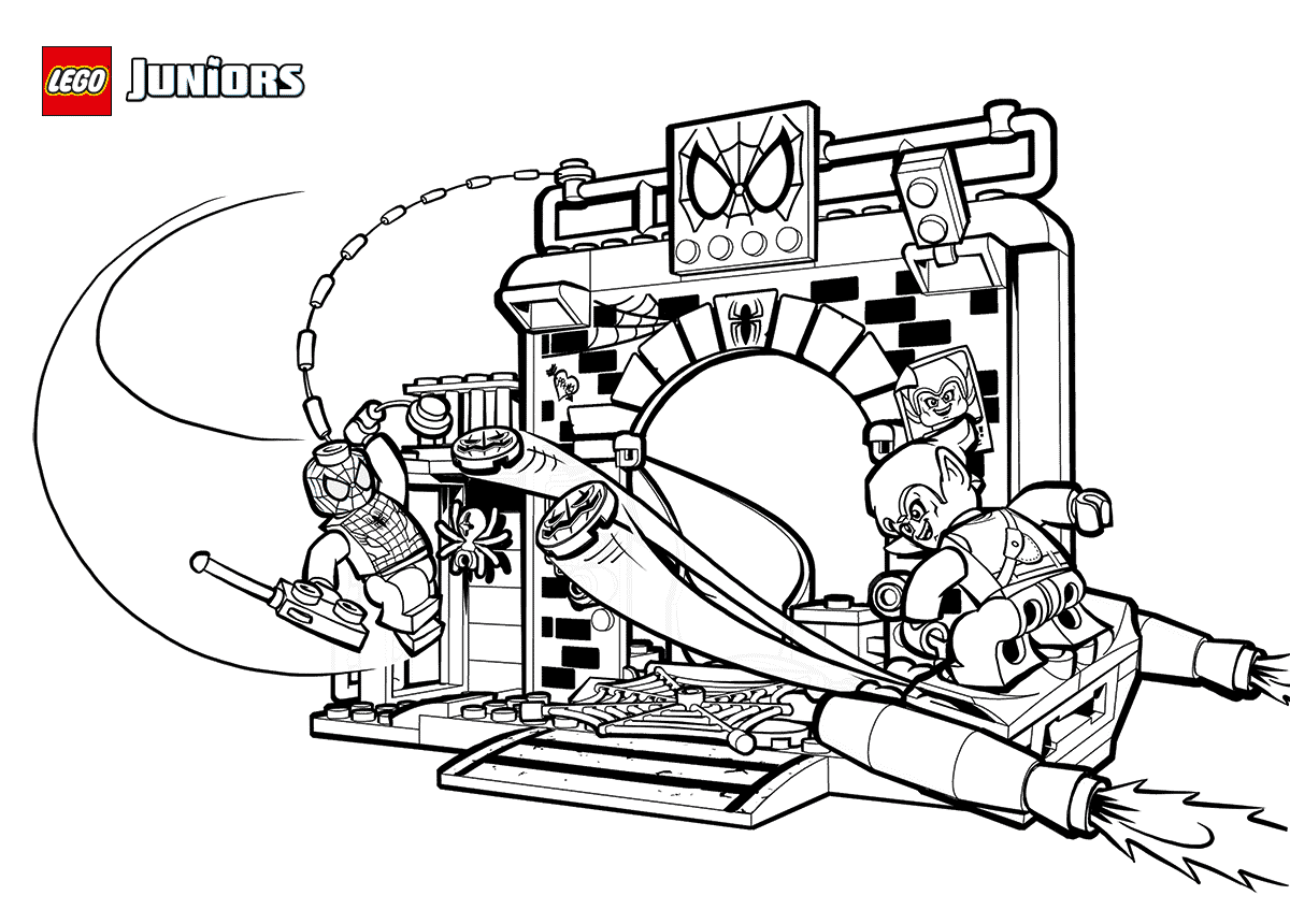 Lego Spiderman And Green Goblin Coloring Page