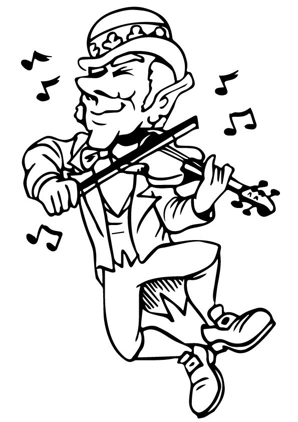 Leprochan Playing Violin Coloring Page
