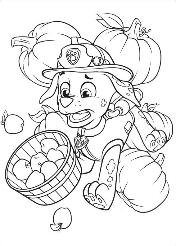 Paw Patrol Halloween Apples Coloring Page