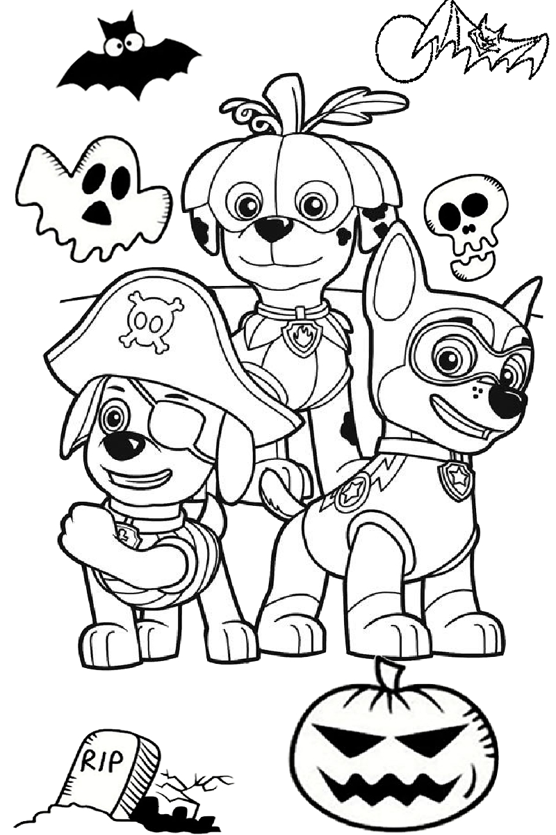 Paw Patrol Halloween Costume Coloring Page