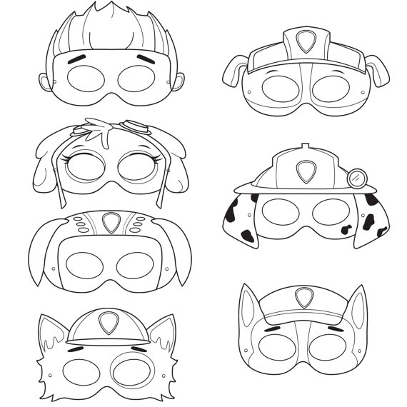 Paw Patrol Halloween Masks Coloring Page
