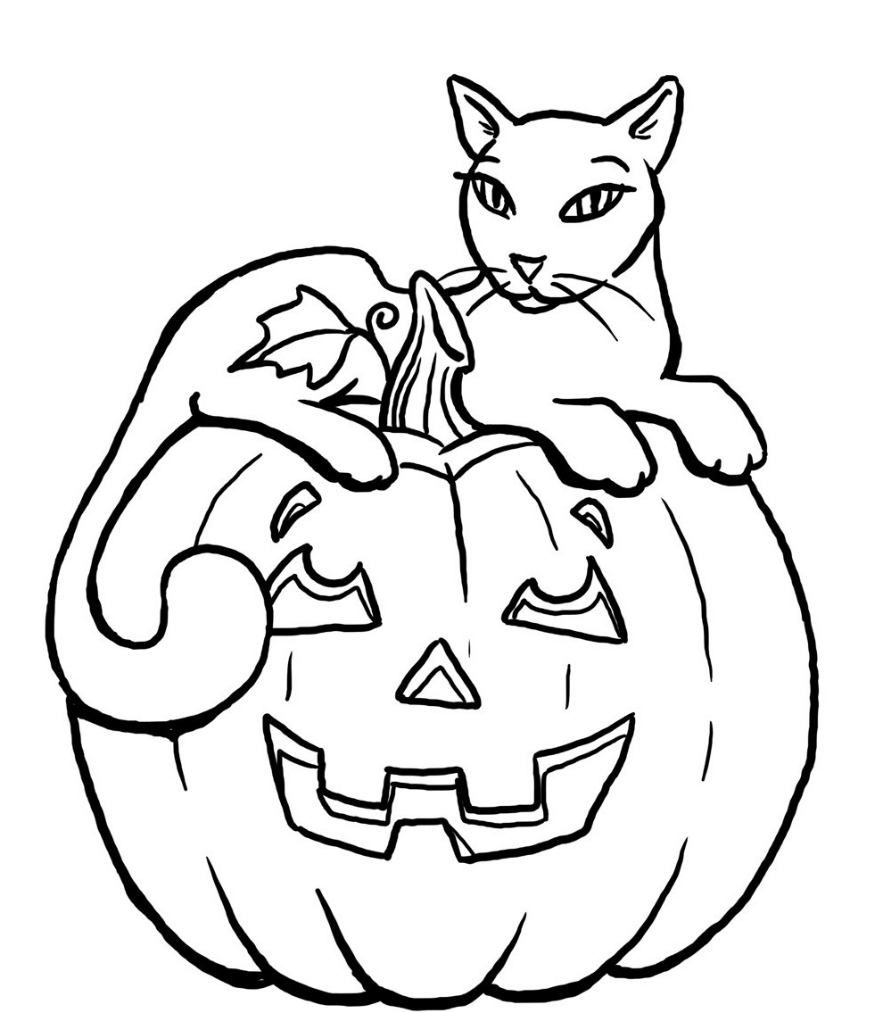 Pretty Halloween Cat Coloring Page
