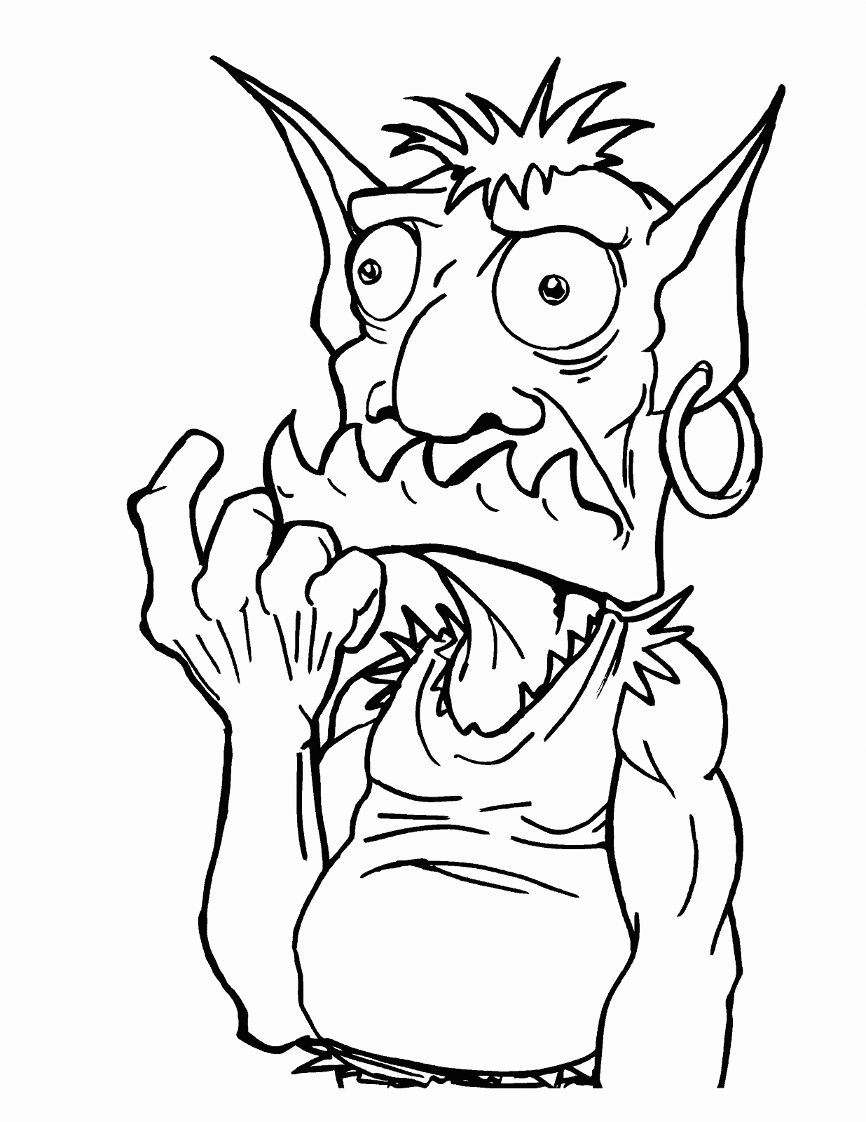 Scared Goblin Coloring Page