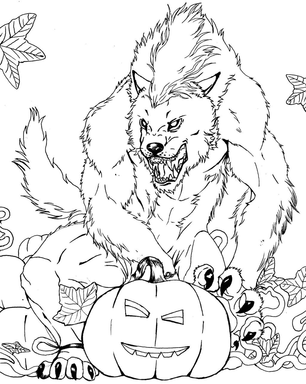 Scary Halloween Werewolf Coloring Pages