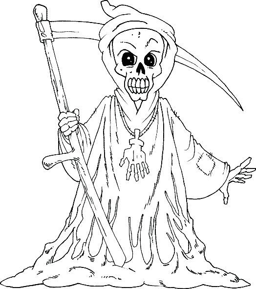 Skull Grim Reaper Coloring Pages