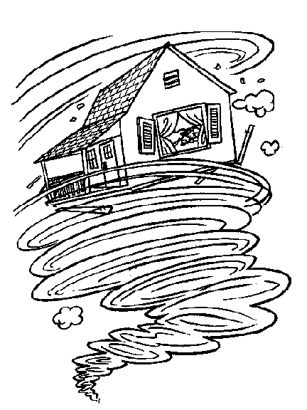 Tornado Wizard Of Oz Coloring Page