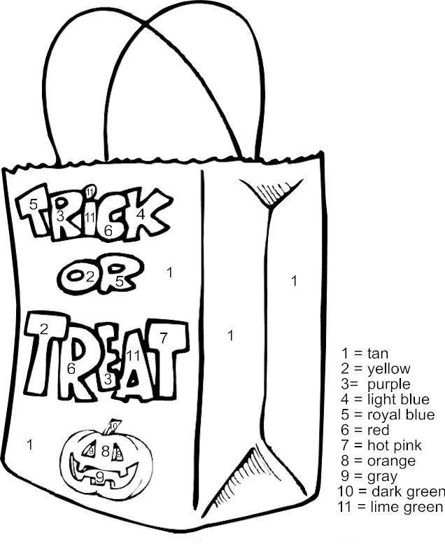 Trick Or Treat Color By Number