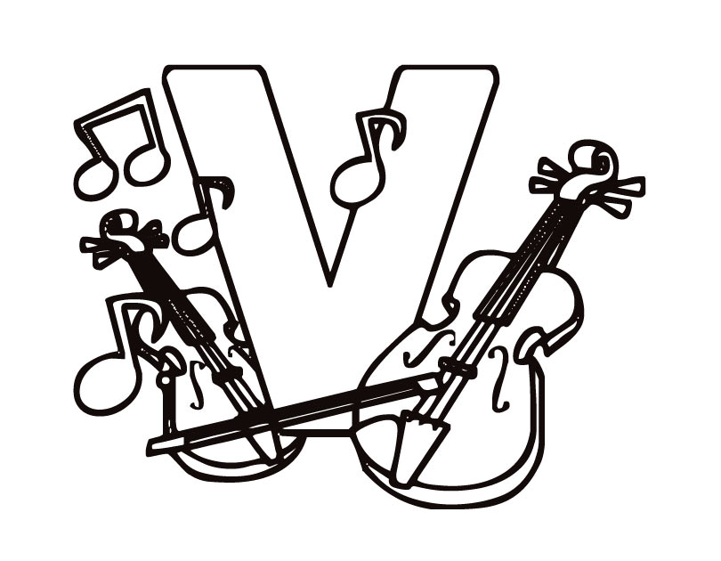 V For Violin Coloring Page