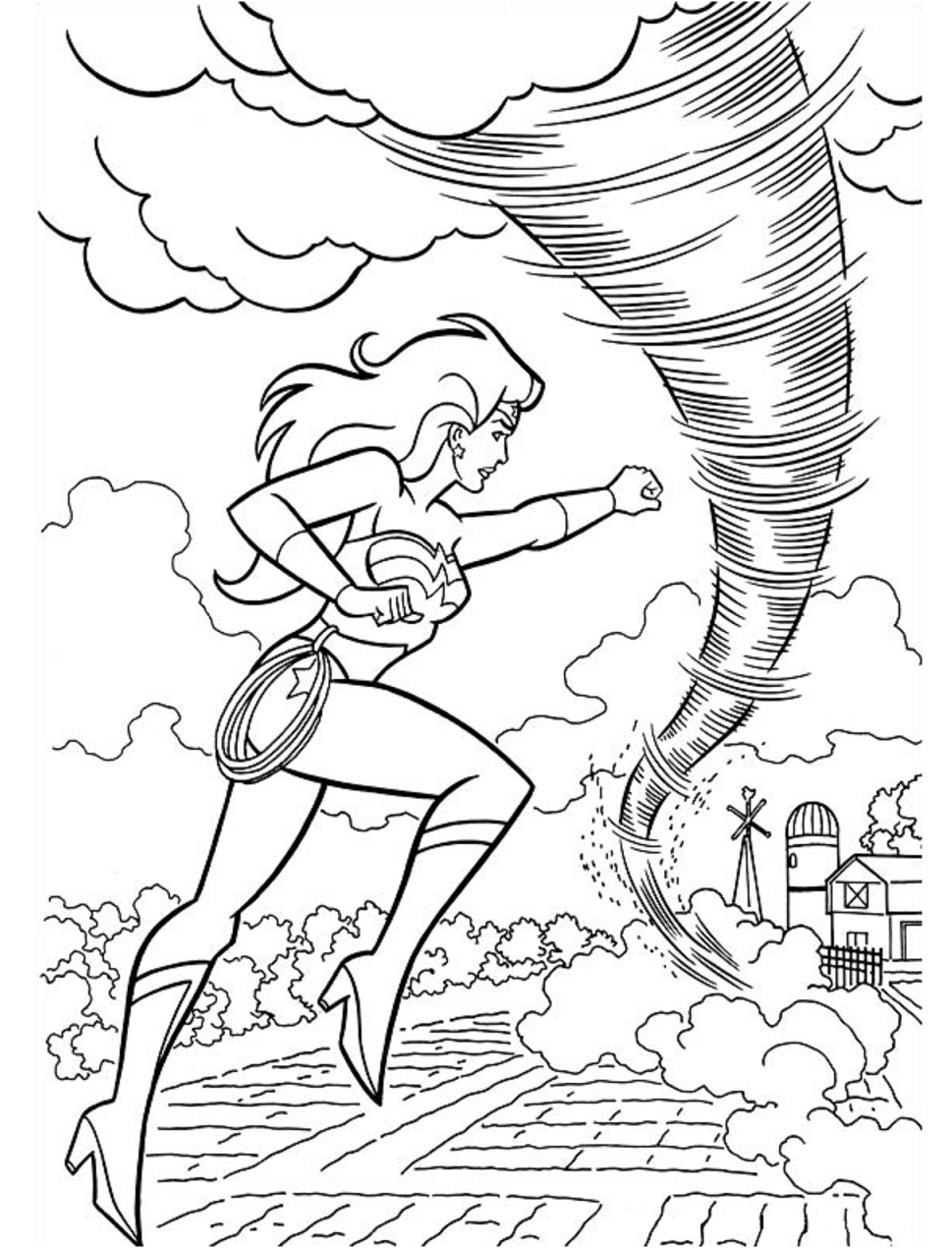 Wonderwoman Fights Tornado Coloring Pages