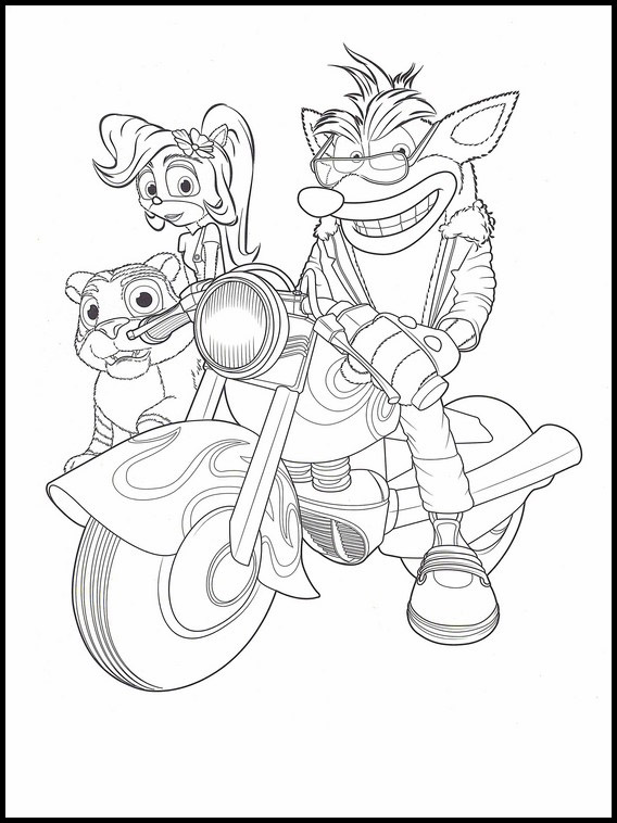 Crash Bandicoot Motorcycle Coloring Pages