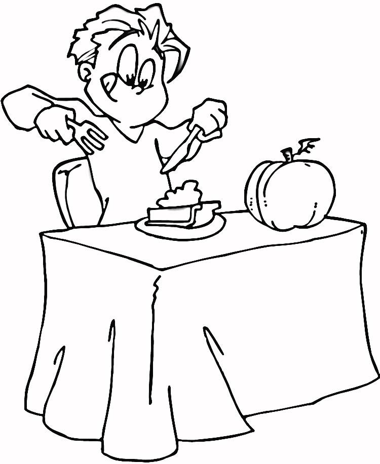 Eating Pumpkin Pie Coloring Page