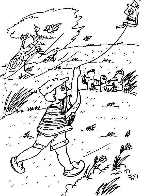 Flying Kite On Windy Day Coloring Page