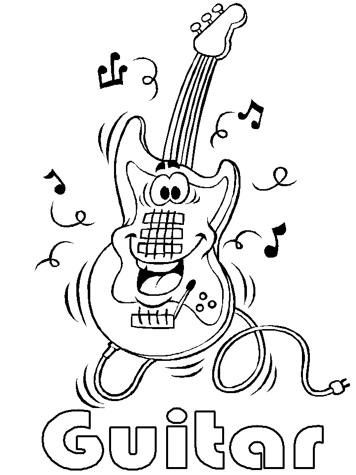Happy Guitar Coloring Pages