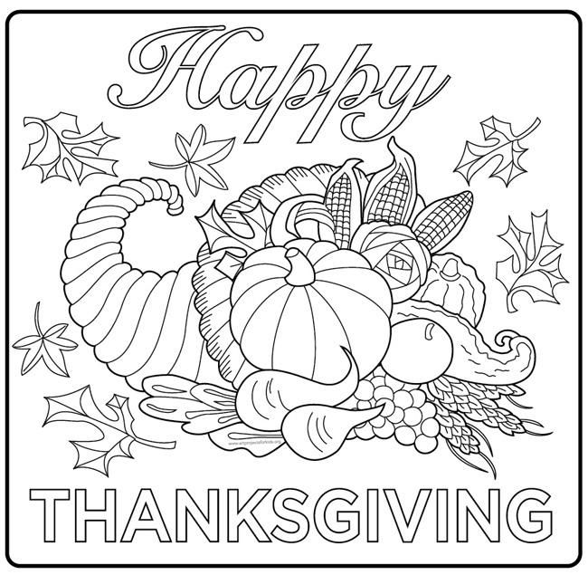 Happy Thanksgiving Cornucopia Coloring Page