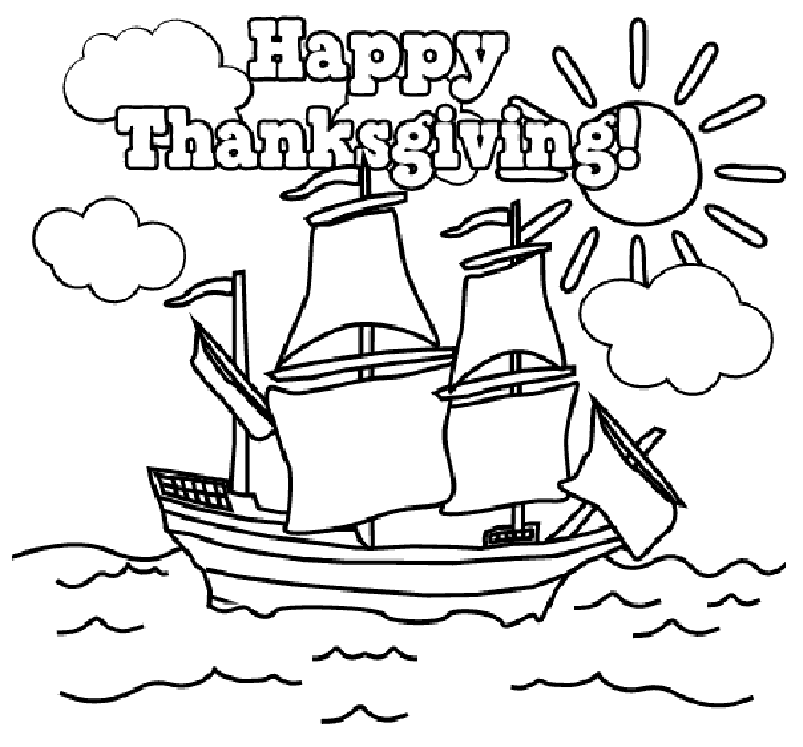 Happy Thanksgiving Mayflower Coloring Page