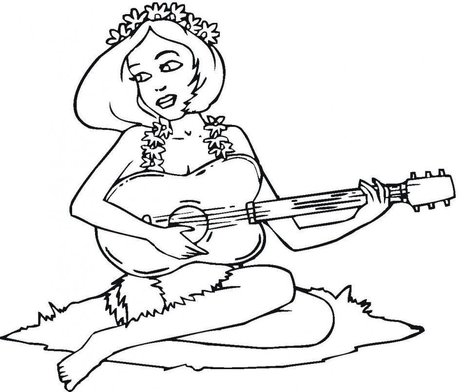 Hawaiian Girl Playing Guitar Coloring Page