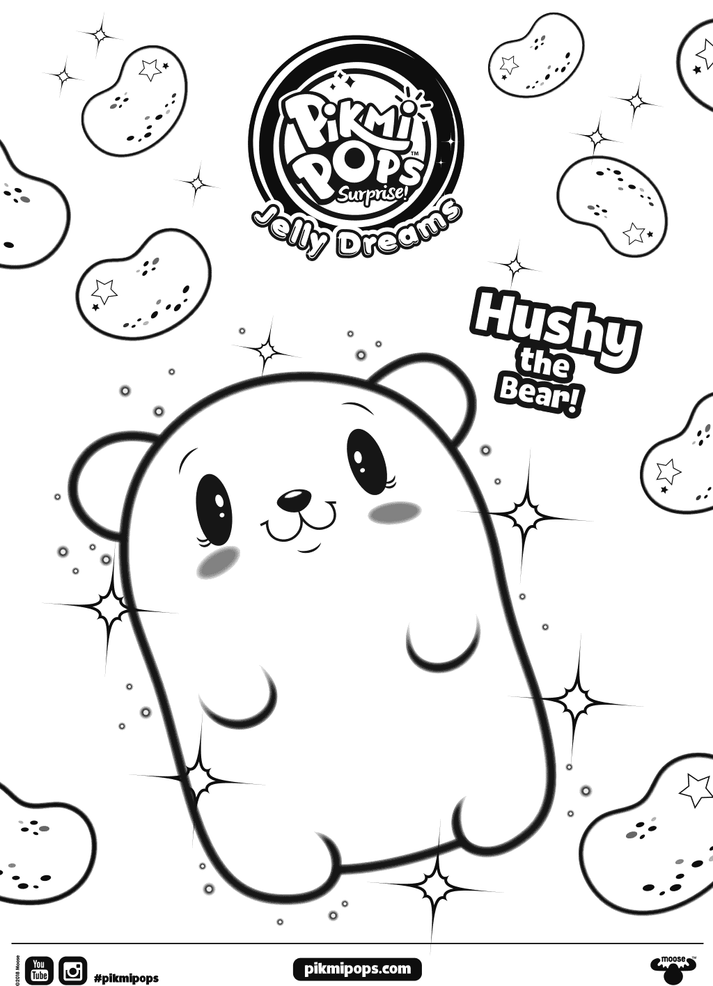 Hushy Pikmi Pops Coloring Pages
