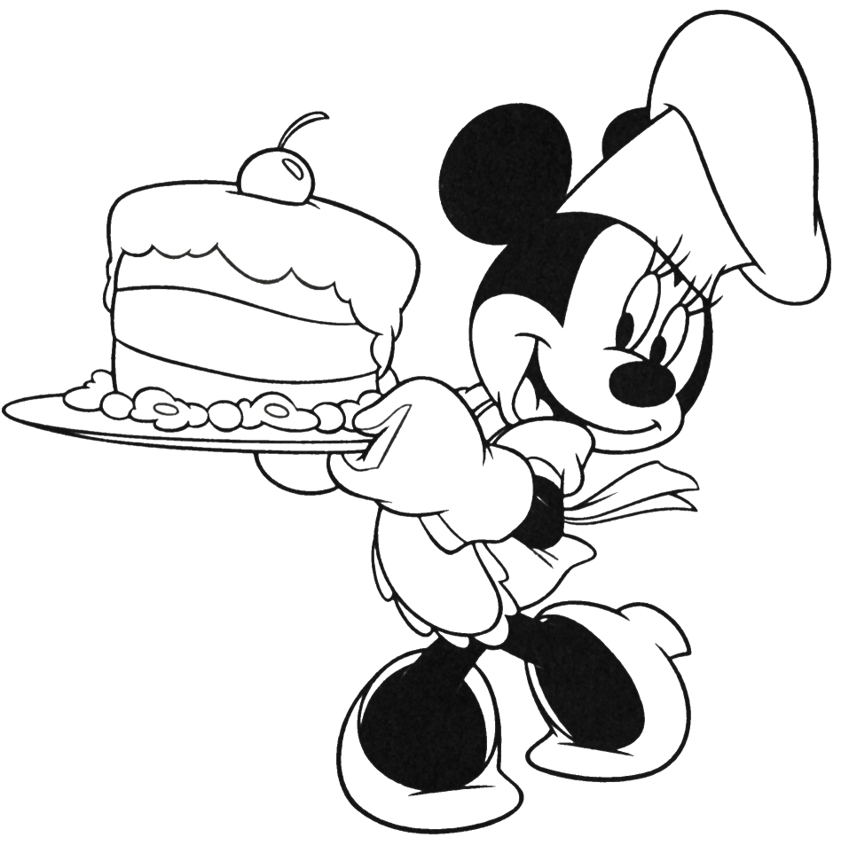 Minnie Mouse Serving Cake Coloring