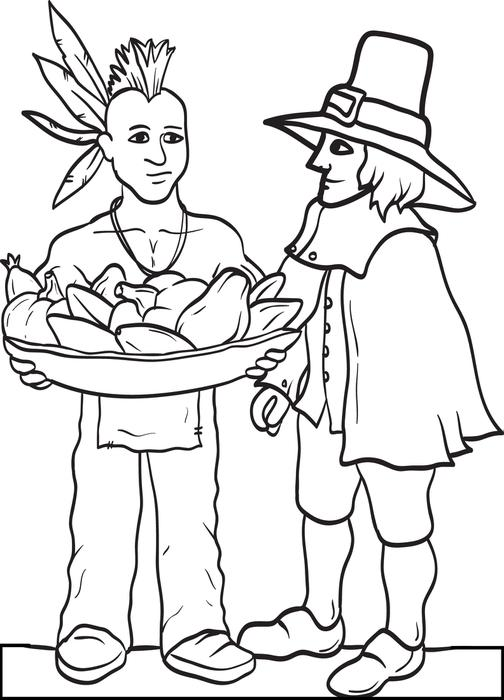 Native American Sharing Thanksgiving Coloring Page