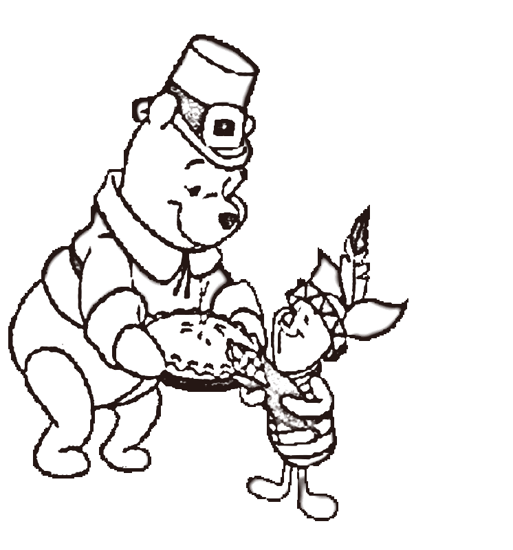 Pooh Disney Thanksgiving Coloring Page