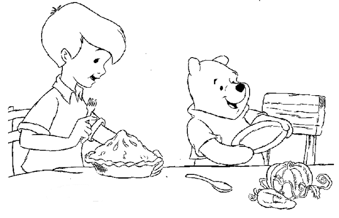 Pooh And Christopher Thanksgiving Coloring