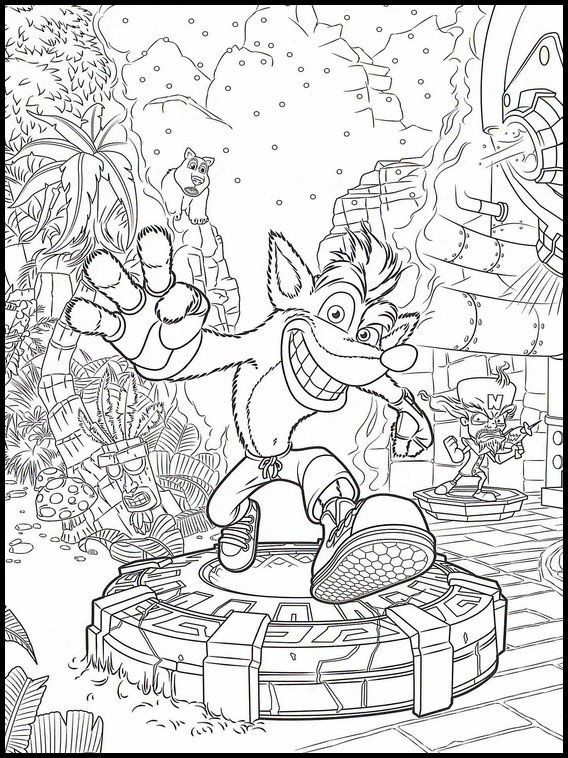 Scene From Crash Bandicoot Coloring Page